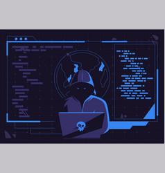 Hacker man in a dark hood sitting at a laptop vector