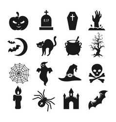 Halloween black silhouette icons vector