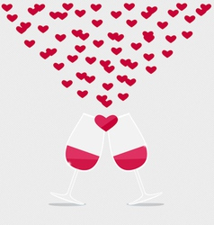 Happy valentines day Two glasses of Red Wine with vector image