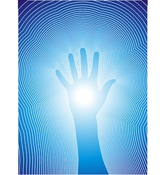 Healing hand with reiki lines vector image