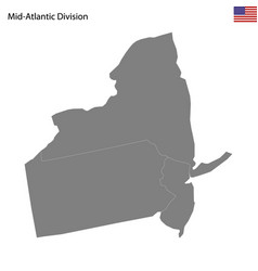 high quality map mid-atlantic division of vector image