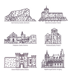 line castles and architecture fortress with tower vector image