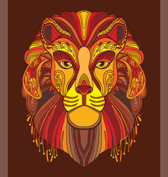 lion coloring book anti-stress vector image