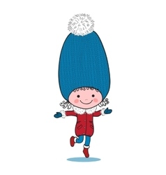 Little running girl in big winter knitted cap vector image