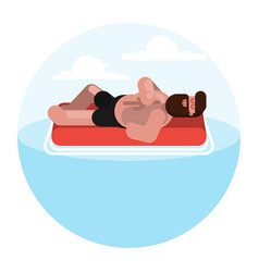 man on inflatable mattress vector image