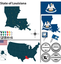 Map of Louisiana vector