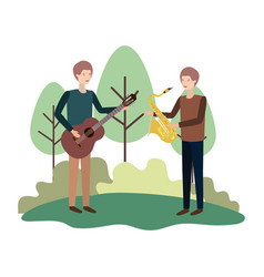 men with musical instruments in landscape vector image