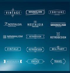 minimal vintage logo templates retro style vector image