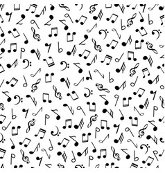 music notes black and white seamless pattern vector image