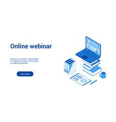 online webinar 3d lp template 2 vector image