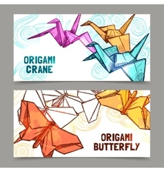 Origami butterflies and cranes banners set vector image