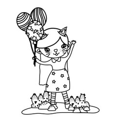Outline happy girl with kitten costume and vector