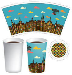 paper cup for hot drink with old town and airship vector image vector image