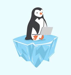 Penguin with notebook on ice floe vector