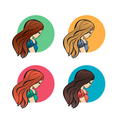 Portraits women girls lateral face profile and vector