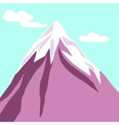 Purple mountain with clouds Snowy peak vector image
