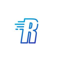 R letter dash fast quick digital mark line vector