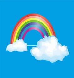 Rainbow and Clouds in the Blue Sky vector image