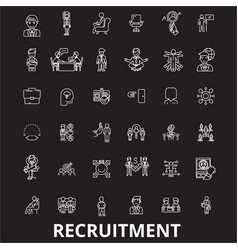 recruitment editable line icons set on vector image
