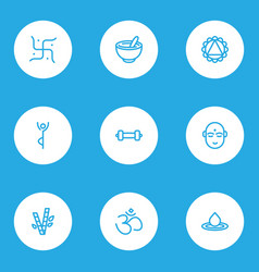 Relax icons line style set with religion hinduism vector