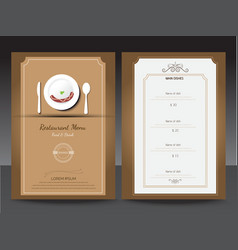 Restaurant or cafe menu design template vin vector image
