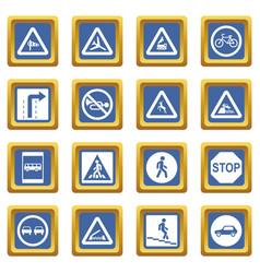Road sign set icons set blue vector