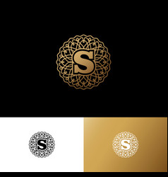 S gold letter monogram gold circle lace ornament vector