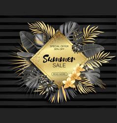 sale rhombus summer tropical leaves frame vector image