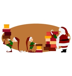 Santa Claus and Christmas elves with gifts vector image