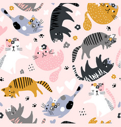 Seamless childish pattern with cute girl cats vector