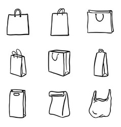 set black doodle shopping bags icons vector image
