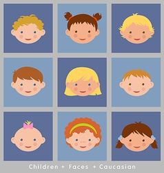 Set cute faces caucasian children flat style vector