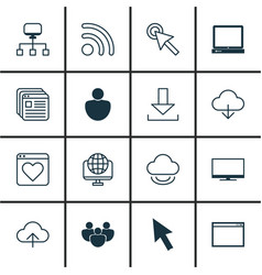 set of 16 internet icons includes human wifi vector image