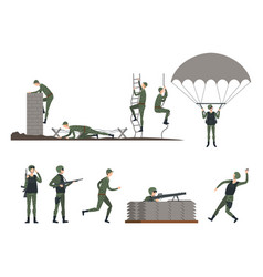 Set of isolated soldiers doing exercises military vector