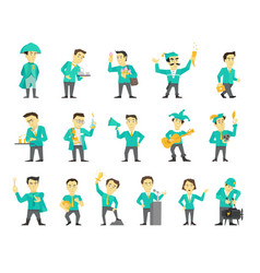 set of sixteen different character design speaker vector image