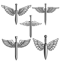Set swords with wings design elements for logo vector