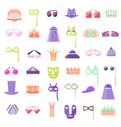 set with icon of hats crowns glasses and masks vector image