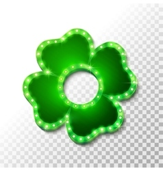 Shine lucky clover with shadow on abstract vector