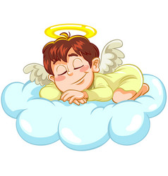 Sleeping little baby angel vector