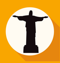 statue of jesus on white circle with a long shadow vector image