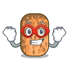 Super hero fried tempeh in bowl character wooden vector