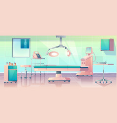 Surgery room operating with medical equipment vector