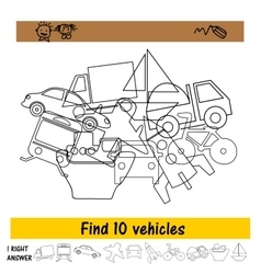 The task for the children to find ten vehicles vector