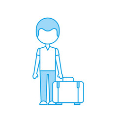 Traveler with suitcase avatar vector