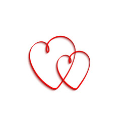 two hearts red hearts with shadow isolated on vector image