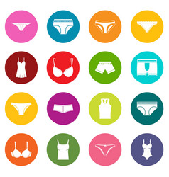 underwear items icons many colors set vector image