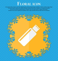 Usb sign icon flash drive stick symbol Floral flat vector
