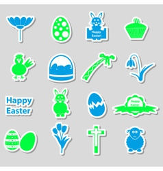 various color Easter stickers set with shadow vector image