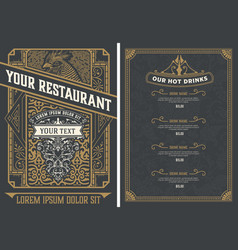vintage restaurant menu design template vector image