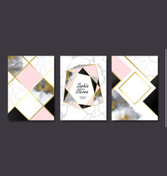 wedding invitation cards with gold and grey marble vector image